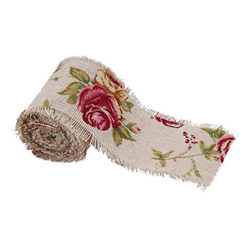 Whitelotous 10M DIY Natural Jute Vintage Print Burlap Rolls Ribbon with Floral (Vintage Print Fabrics)