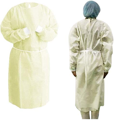 20 Pack Universal Isolation Gown with Elastic Wrists,Adults Disposable Gown Coverall,Indoor Outdoor Safety Personal Coveralls – Yellow