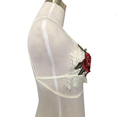 ALISIAM Mujeres Lingerie Floral Sheer Lace Vest Seamless Bralette Cup Bra inalámbrico White
