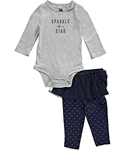 """Carter's Baby Girls' """"Sparkle like a Star"""" 2-Piece Outfit - heather gray/navy, newborn"""