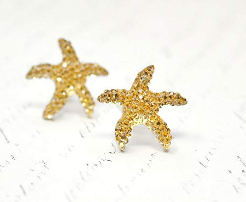 (Unique Crystal Starfish Earrings, Handmade Sparkly Champagne Crystal Topaz Star Fish, Sandy Beige Beach Jewelry, Nautical Jewelry for Girls)