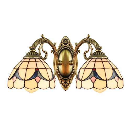BAYCHEER HL404198 Tiffany Wall Sconce lamp Stained Glass Wall Sconces Lighting for Bedroom Hallway Stairway Balcony Cloakroom 2 Lights (Stained Wall Lights Outdoor Glass)