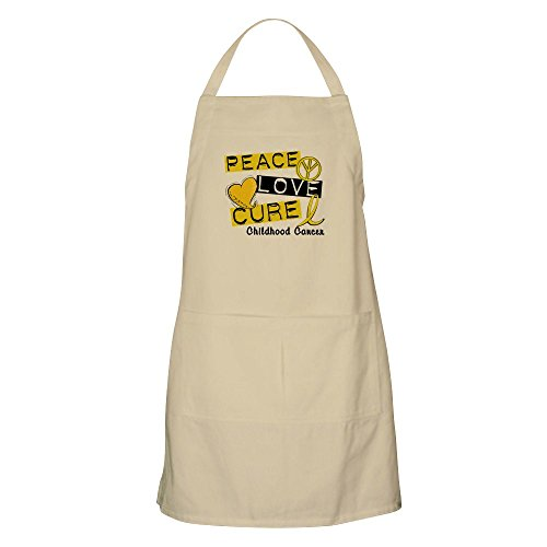 CafePress Peace Love Cure Childhood Cancer BBQ Apron Kitchen Apron with Pockets, Grilling Apron, Baking -