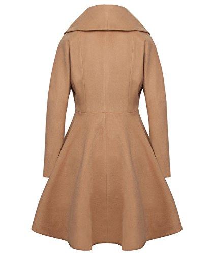 AJ FASHION Women's Wool Trench Coat Lapel Wrap Swing Winter Long Overcoat Jacket, Camel, US XS=Tag S