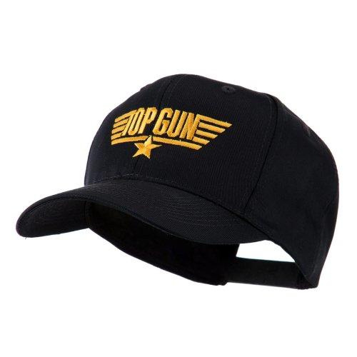 Logo Embroidered Hat Cap - E4hats US Navy Top Gun Logo Embroidered Cap - Black OSFM