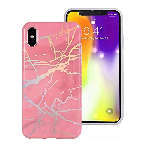 iPhone XR Case, AUMIAU Cute Shiny Laser Marble Slim Soft TPU Clear Bumper Flexible Rubber Silicone Rugged Thin Cover Phone Case for Apple iPhone XR ()