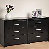 Prepa 60Wx15.75x29.5-Inch Modern Contemporary Six Drawer Dresser - Black