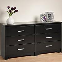 Prepa 60Wx15.75x29.5-Inch Modern Contemporary Six Drawer Dresser - Black
