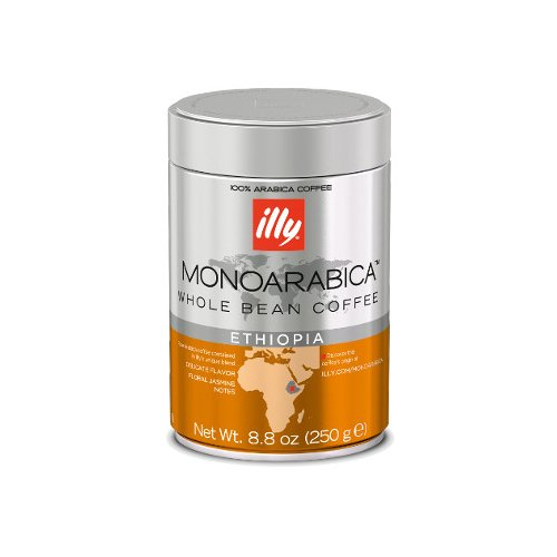 Illy Monoarabica Ethiopia Whole Bean Coffee, Orange Band, 6 Count by Illy