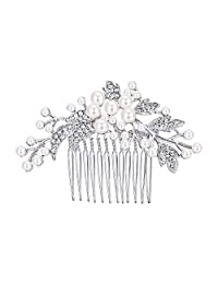 Ever Faith Silver-Tone Austrian Crystal Cream Simulated Pearl Floral Leaf Branch Wedding Hair Comb