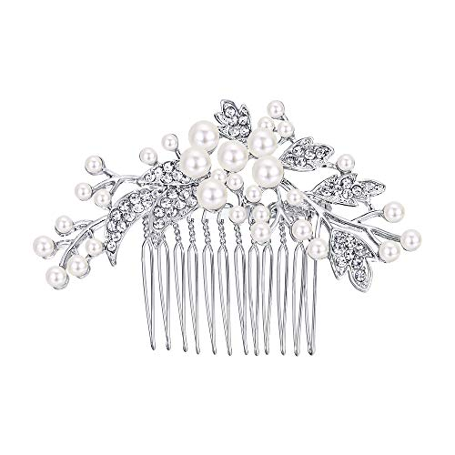 - EVER FAITH Silver-Tone Austrian Crystal Cream Simulated Pearl Floral Leaf Branch Wedding Hair Comb Clear