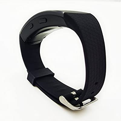 Gear Fit2 Band, Replacement Silicone Band for Samsung Gear Fit2 Strap, Metal Steel Band for Gear Fit 2