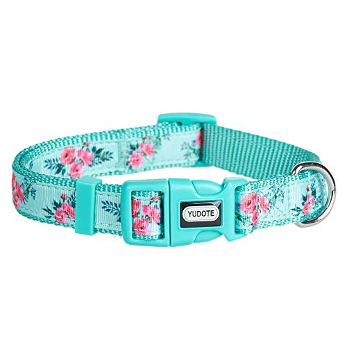 YUDOTE Spring Flower Series Dog Collars, Adjustable Nylon Collar for Female & Male Dogs, Fashion and Cute Designer Puppy Collar, Medium, Neck 12