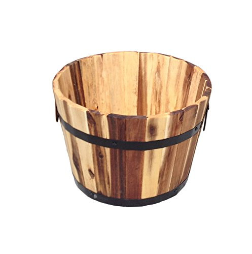Happy Planter HP304XXL Wood Barrel Outdoor Planter, Set of 3 Planters,  Color: Standard Brown by Happy Planter