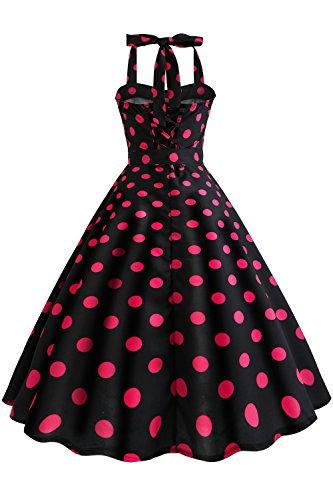 e139ff1071d ... Gr Neckholder s-2xl Vintage Kleid Babyonlinedress Geblümte Retro  Cocktailkleider Dots Damen Rot 50er Sommerkleid ...