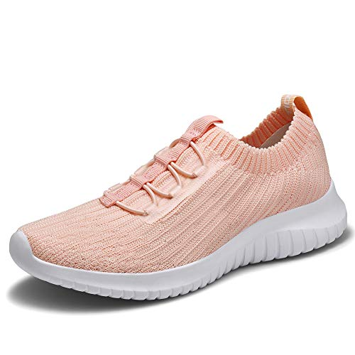 TIOSEBON Women's Lightweight Casual Walking Athletic Shoes Breathable Flyknit Running Slip-On Sneakers 5 US Pink