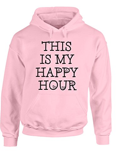 ZETAMARKT Felpa con Cappuccio Donna This Is My Happy Hour Fitness Lady Girl Hoodie Personalizzata Damen Shirt