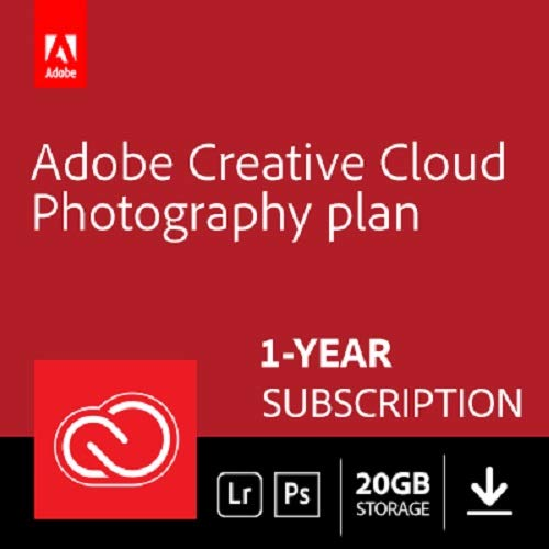 Adobe Creative Cloud Photography plan 20 GB (Photoshop  + Lightroom) | 12-month Subscription with auto-renewal, PC/Mac by Adobe