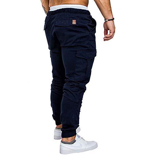 Slim Oscuro Pantalones Elástica Cintura Pantalones Chinos Azul Jeans de Skinny Hombre Cordón Combat con Vestir Fit para OgIa4q