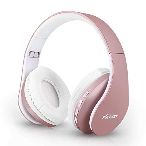 Bluetooth Headphones Wireless, Puersit Over Ear Hi-Fi Stereo Headset with Deep Bass, Foldable and Lightweight, Wired and Wireless Modes Built in Mic for iPhone Samsung TV PC Laptop (Rose Gold)