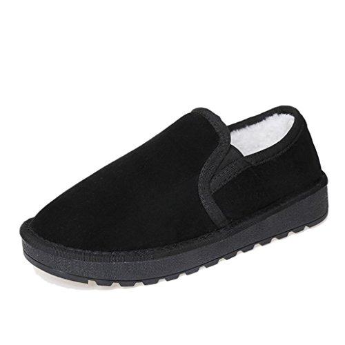 OverDose Frauen Damen Stiefel Flache Ankle Pelzfutter Winter Warme Schneeschuhe Faule Schuhe Schwarz