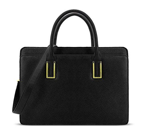 Ladies LYDC Faux Leather Briefcase Handbag - Women's Work Shoulder Laptop Bag GL8206 Black