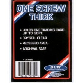 BCW 1 Screw Thick Card Holder - 50 Pt. (Box of 50) Jersey or Memorabilia Card Screwdown - Baseball, Football, Basketball, Hockey, Golf, Single Sports Cards Top Load - Sportcards Card Collecting Supplies