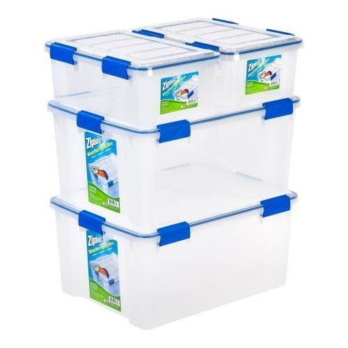 Ziploc 4-Piece Extra Small/Large Deep Weathertight Storage Set 16 Quart Model