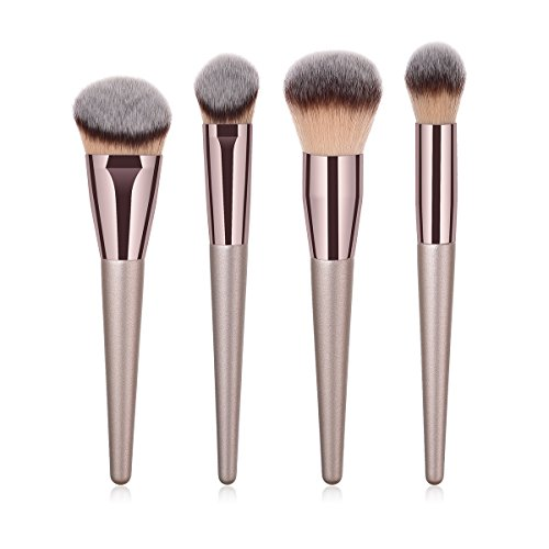 BBL 4pcs Luxury Champagne Gold Makeup Brush Set, Premium Synthetic Foundation Blending Powder Liquid Cream Buffing Tapered Concealer Contour Face Kabuki Make Up Brushes cosmetics tools applicator ()