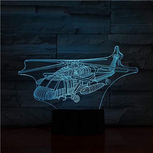 Fsewfs Uh-60 Utility Helicopter Warplane Model USB 3D Led Night Light Black  Hawk Fighter Gece Lambas Plane Table Lamp