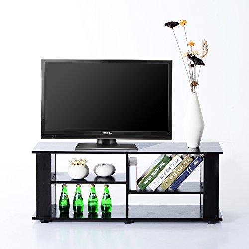 homcom 833-084 TV Lowboard Schrank Tisch Fernsehtisch Regal, Holz, schwarz, 147 x 38 x 46 cm