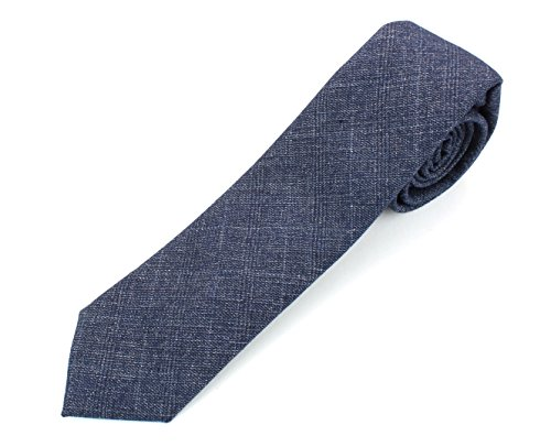 Men's Cotton Skinny Necktie Tie Distressed Weave Vintage Pattern - 2 1/2' Width