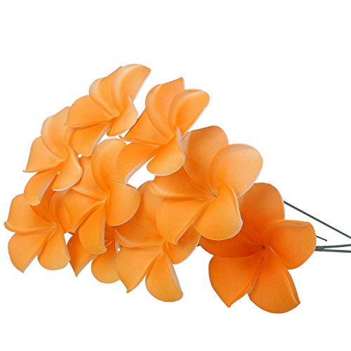 YOUBAMI Hawaiian Plumeria Foam Flowers with Stems Great for Various Festival Luau Party Favor Event Wedding Home Decoration DIY Bouquets by Yourself Set of 18 Pcs (Orange)
