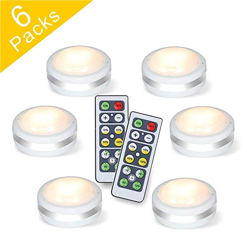 Puck Lights With Remote, Starxing Wireless Led Puck Lights Battery Operated, Led Puck Lights With Remote Control, Led Under Cabinet Lighting, Dimmable Closet Light, Battery Powered, 4000K Natural Whit ()