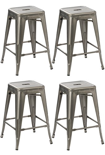 BTEXPERT 24-inch Tabouret Vintage Antique Rustic Distressed Metal Counter Height Bar Stool indoor-outdoor – (Set of 4 barstool)