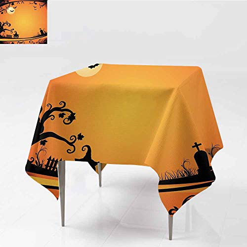 Diycon Waterproof Tablecloth Vintage Halloween Halloween Themed Image Eerie Atmosphere Gravestone Evil Pumpkin Moon Orange Black Washable Tablecloth W54 xL56