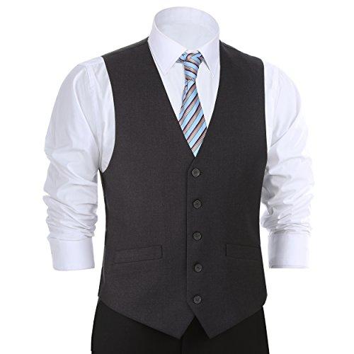 Chama Men's Formal Classic Fit Business Dress Suit Button Down Vest Waistcoat(54 Regular,Dark Grey)