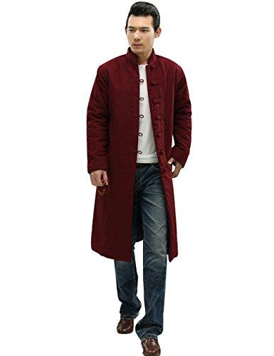 Yolee Women Or Men Winter Lapel Single Breasted Warm Long Coat Couple Coat Dark Red L by Yolee