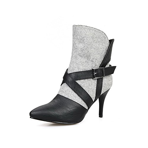 Pointed AgooLar Stilettos Toe Assorted Women's Spikes Gray Boots Color Blend Closed Materials q1aYq0Z