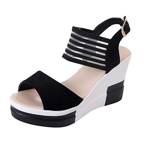 Mysky Fashion Women Summer Casual Buckle Fish Mouth Sandals Ladies Brief Solid Color High Platform Wedge Shoes