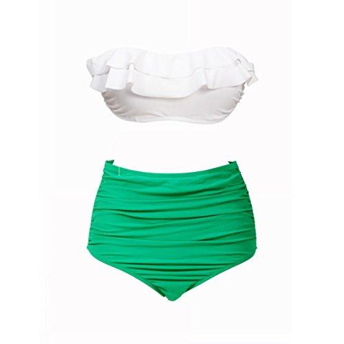 QHGstore BKN el pecho abrigo de talle alto traje de ba?o blanco de la cubierta de la banda verde del doblez del bikini