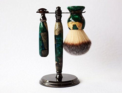 One of a kind Buckeye Burl shave set with green resin, safety razor, shave brush and matching brush and razor stand. by CreationsByWill