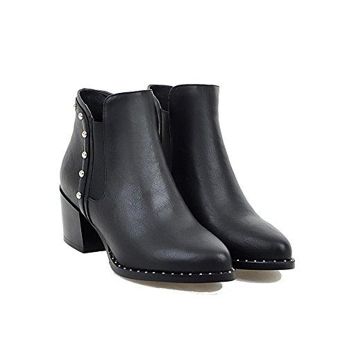 VogueZone009 Damen Ziehen auf Spitz Zehe Mittler Absatz Niedrig-Spitze Stiefel mit Rivet Set Schwarz