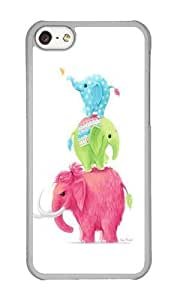 Apple Iphone 5C Case,WENJORS Cool Elephants Hard Case Protective Shell Cell Phone Cover For Apple Iphone 5C - PC Transparent
