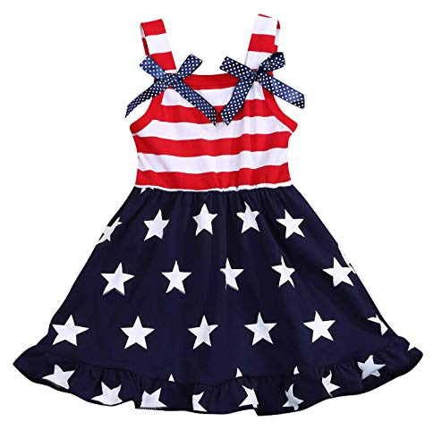 Toddler Baby Girls Summer Outfit Stars and Stripes Bow-Knot Dress Independent's Day Suits (Red, 12-18 Months)