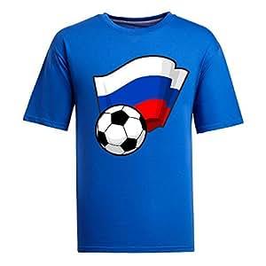 Custom Mens Cotton Short Sleeve Round Neck T-shirt,2014 Brazil FIFA World Cup Soccer Flags blue