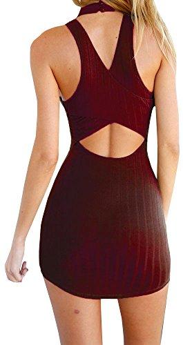 Licol D'été Bigyonger Femmes Sexy Mini-manches Dos Nu Robe Bandage De Vin Rouge