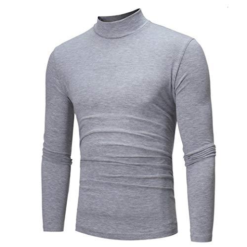 Micro Fleece Turtleneck (Sunyastor Premium Fitted Long-Sleeve Contrast Autumn Winter Pure Color Turtleneck Crewneck Fleece Shirt)