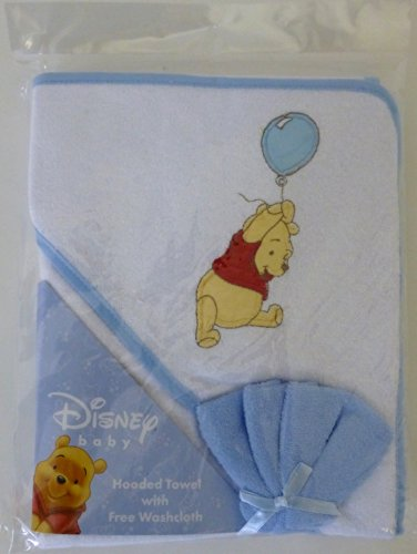 Winnie The Pooh Hooded Towel & Washcloth set - blue