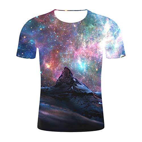 Men Women Plus Size Starry T-Shirt, Ladies Casual 3D Print Short Sleeve Tops Summer Travel Sports Blouse Shirt M-4XL